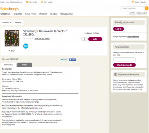 Image of Webpage Sainsburys Halloween Tablecloth